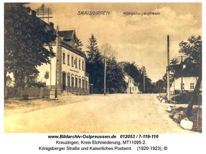 Kreuzingen, Königsberger Straße und Kaiserliches Postamt