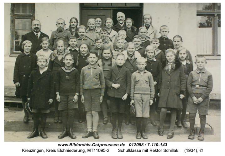 Kreuzingen, Schulklasse mit Rektor Schillak