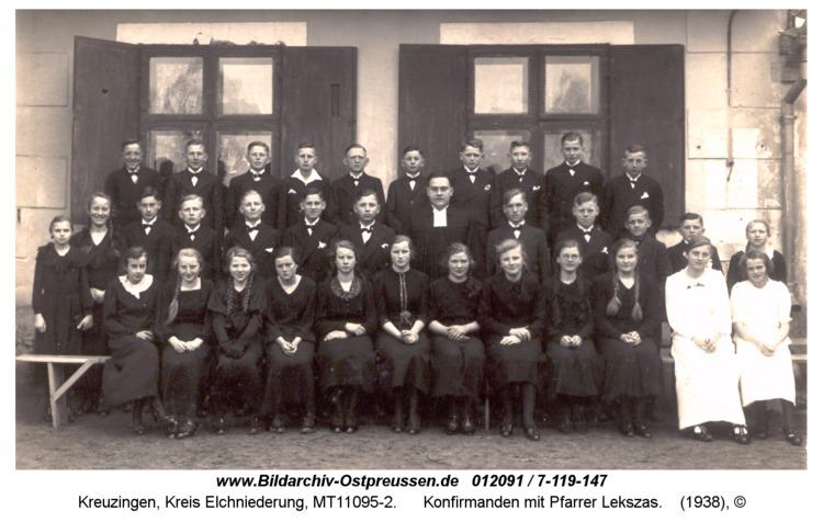 Kreuzingen, Konfirmanden mit Pfarrer Lekszas