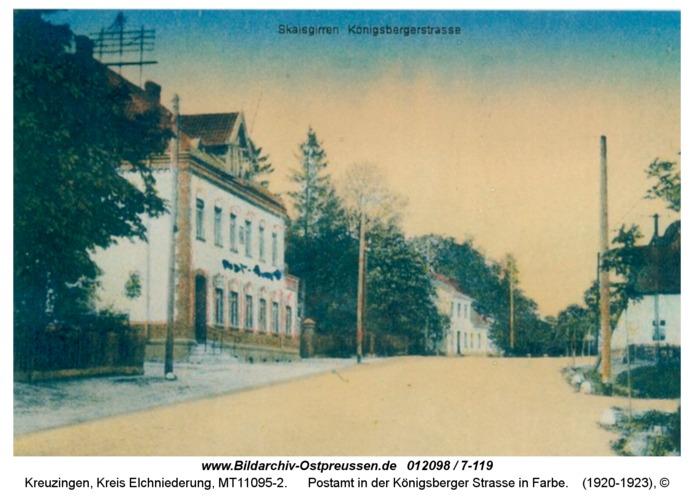 Kreuzingen, Postamt in der Königsberger Straße in Farbe