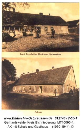 Gerhardsweide, AK mit Schule und Gasthaus