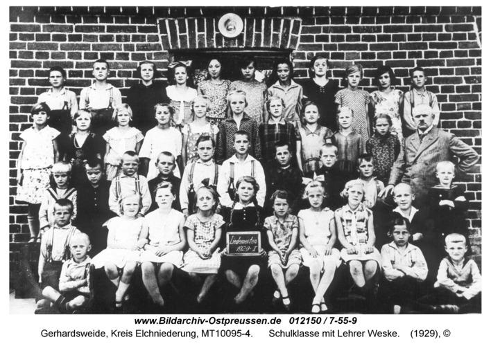 Gerhardsweide, Schulklasse mit Lehrer Weske