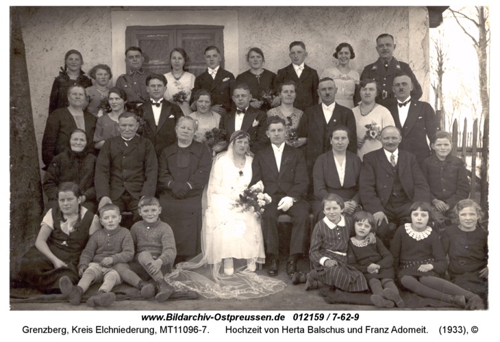 Grenzberg, Hochzeit von Herta Balschus und Franz Adomeit