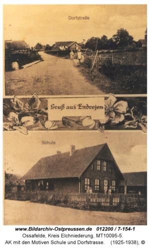 Ossafelde, AK mit den Motiven Schule und Dorfstraße