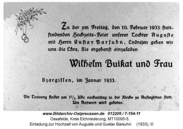 Ossafelde, Einladung zur Hochzeit von Auguste und Gustav Barsuhn