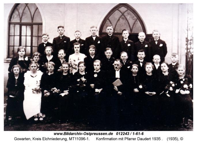 Gowarten, Konfirmation mit Pfarrer Daudert 1935