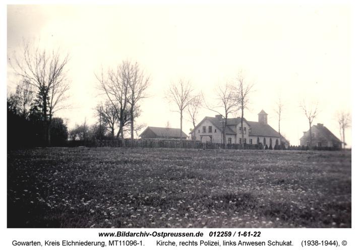 Gowarten, Kirche, rechts Polizei, links Anwesen Schukat