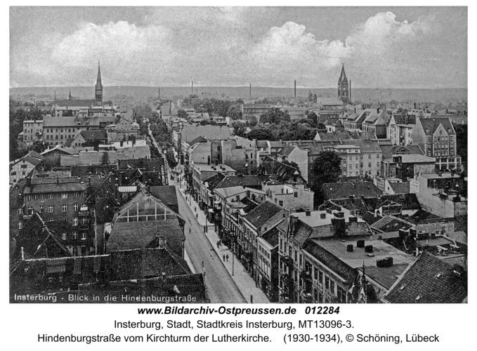 Insterburg, Hindenburgstraße vom Kirchturm der Lutherkirche