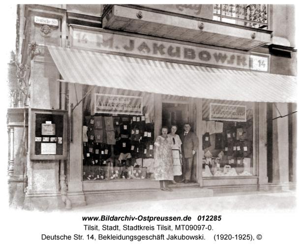 Tilsit, Deutsche Str. 14, Bekleidungsgeschäft Jakubowski