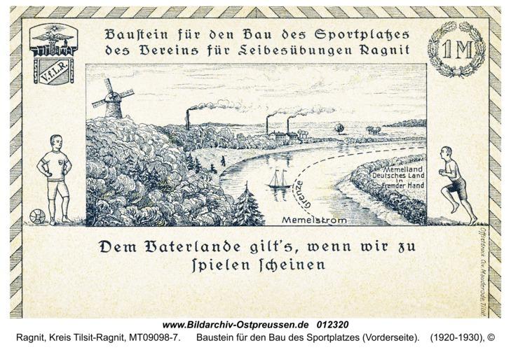 Ragnit, Baustein für den Bau des Sportplatzes (Vorderseite)