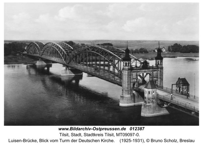 Tilsit, Luisen-Brücke, Blick vom Turm der Deutschen Kirche