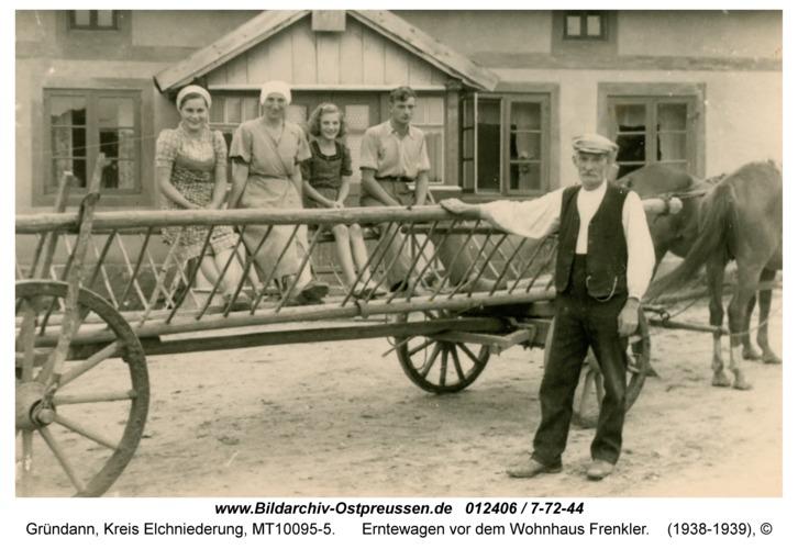Gründann, Erntewagen vor dem Wohnhaus Frenkler