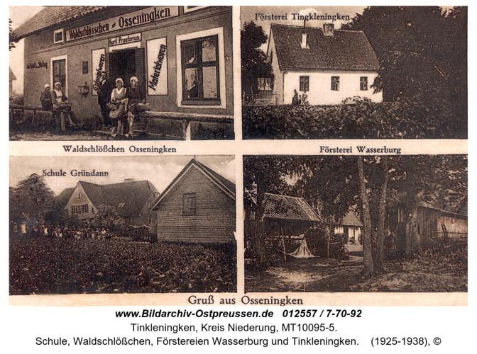 Grünau, Schule, Waldschlößchen, Förstereien Wasserburg und Tinkleningken