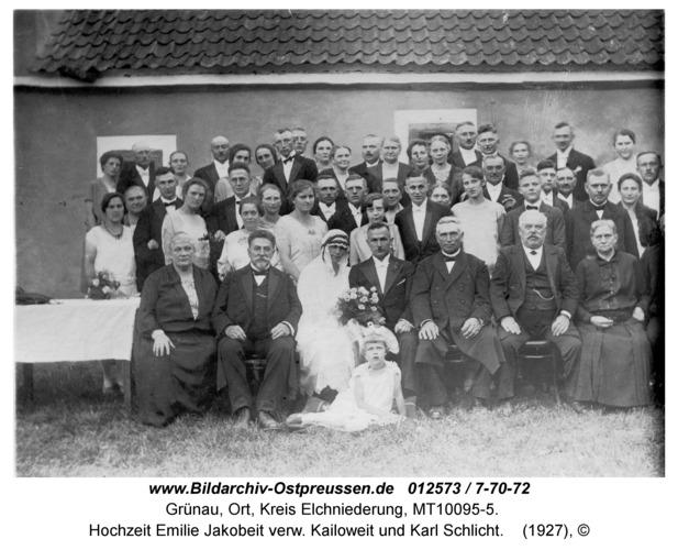 Grünau, Hochzeit Emilie Jakobeit verw. Kailoweit und Karl Schlicht