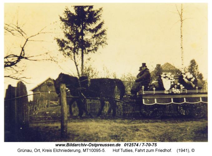 Grünau, Hof Tutlies, Fahrt zum Friedhof
