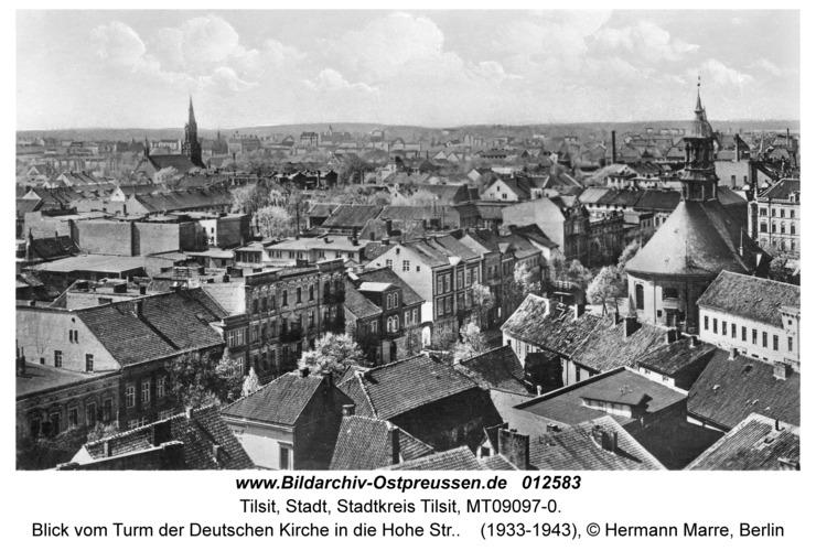 Tilsit, Blick vom Turm der Deutschen Kirche in die Hohe Str.