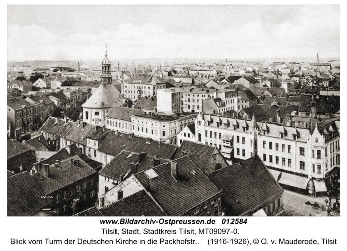 Tilsit, Blick vom Turm der Deutschen Kirche in die Packhofstr.