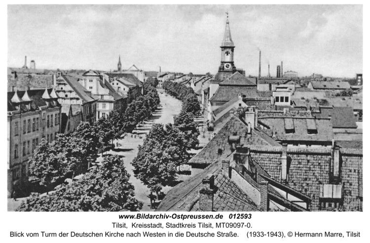 Tilsit, Blick vom Turm der Deutschen Kirche nach Westen in die Deutsche Straße