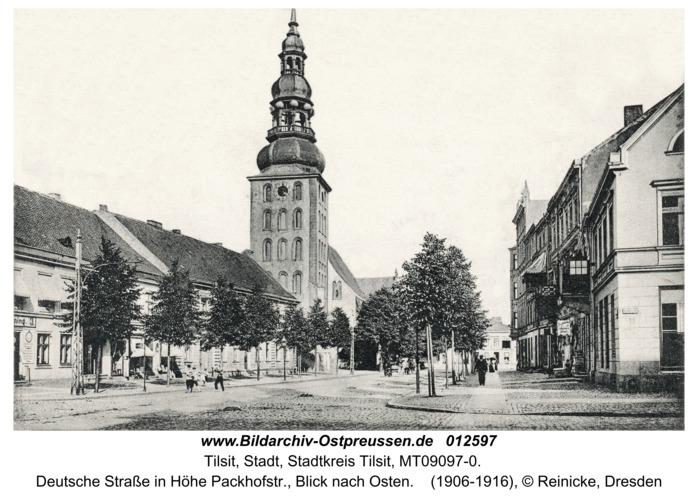 Tilsit, Deutsche Straße in Höhe Packhofstr., Blick nach Osten