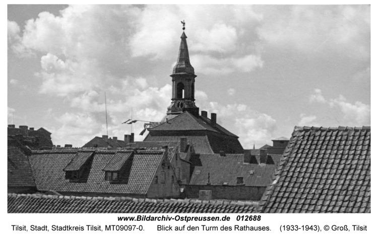 Tilsit, Blick auf den Turm des Rathauses