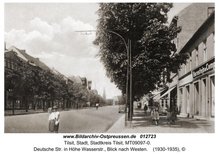 Tilsit, Deutsche Str. in Höhe Wasserstr., Blick nach Westen