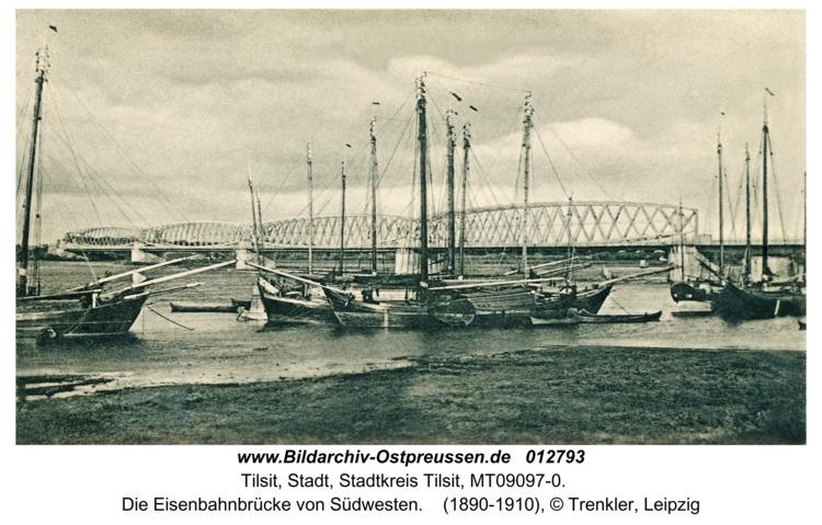 Tilsit, Die Eisenbahnbrücke von Südwesten
