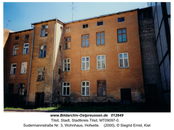 Tilsit, Sudermannstraße Nr. 3, Wohnhaus, Hofseite