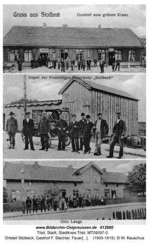 Tilsit, Ortsteil Stolbeck, Gasthof F. Stechler, Feuerwehrdepot und Hof von Otto Lange