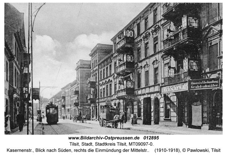 Tilsit, Kasernenstr., Blick nach Süden, rechts die Einmündung der Mittelstr.