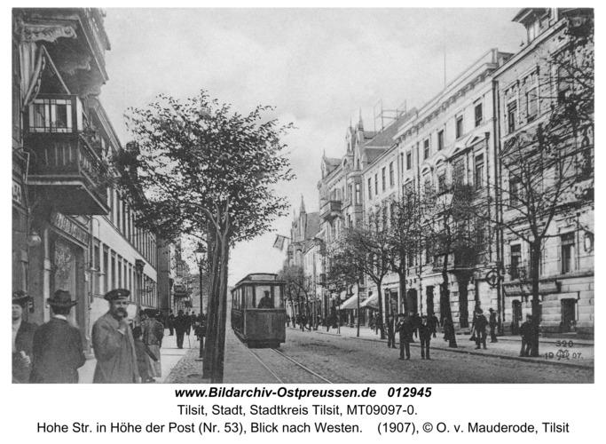 Tilsit, Hohe Str. in Höhe der Post (Nr. 53), Blick nach Westen
