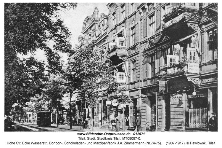 Tilsit, Hohe Str. Ecke Wasserstr., Bonbon-, Schokoladen- und Marzipanfabrik J.A. Zimmermann (Nr.74-75)