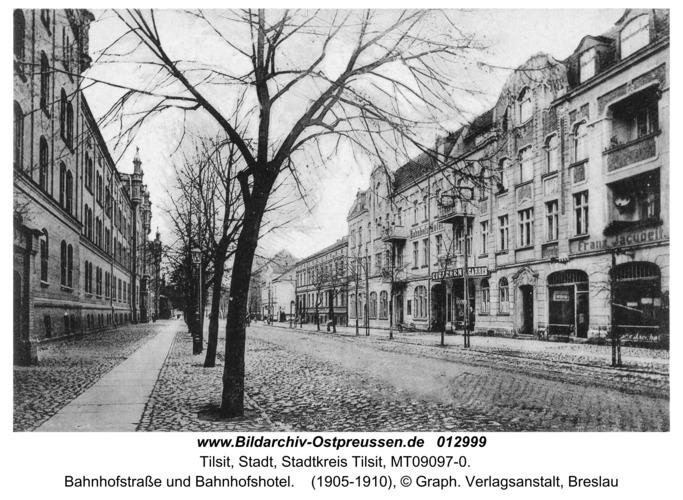 Tilsit, Bahnhofstraße und Bahnhofshotel