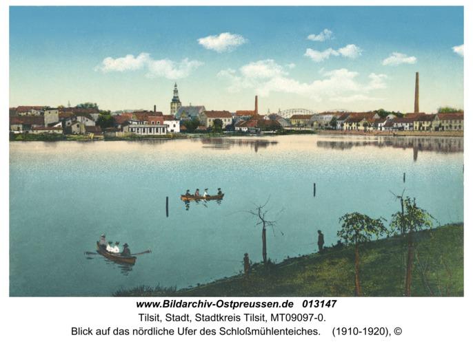 Tilsit, Blick auf das nördliche Ufer des Schloßmühlenteiches