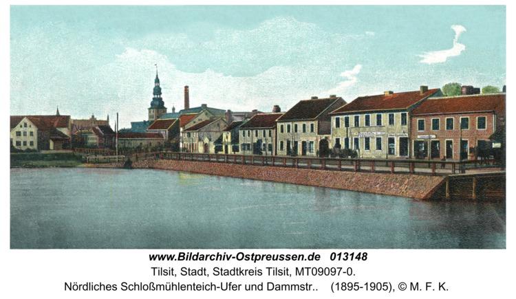 Tilsit, Nördliches Schloßmühlenteich-Ufer und Dammstr.
