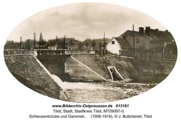 Tilsit, Schleusenbrücke und Dammstr.