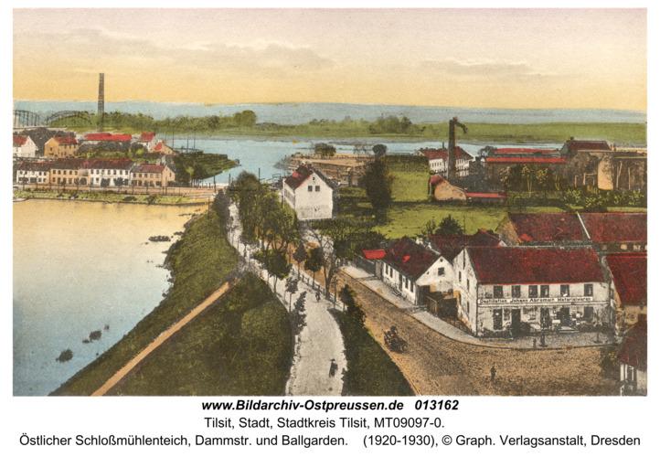 Tilsit, Östlicher Schloßmühlenteich, Dammstr. und Ballgarden