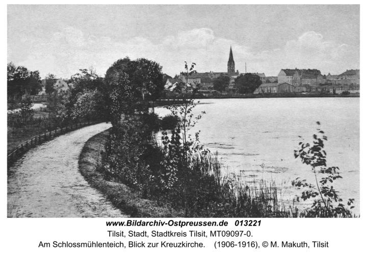 Tilsit, Stadt, Am Schlossmühlenteich, Blick zur Kreuzkirche