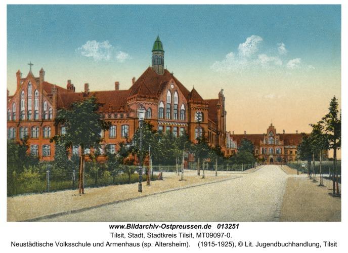 Tilsit, Neustädtische Volksschule und Armenhaus (sp. Altersheim)