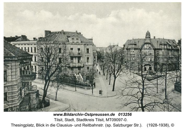 Tilsit, Thesingplatz, Blick in die Clausius- und Reitbahnstr. (sp. Salzburger Str.)