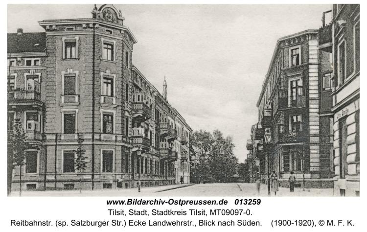 Tilsit, Reitbahnstr. (sp. Salzburger Str.) Ecke Landwehrstr., Blick nach Süden