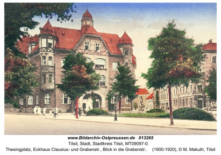 Tilsit, Thesingplatz, Eckhaus Clausius- und Grabenstr., Blick in die Grabenstr.