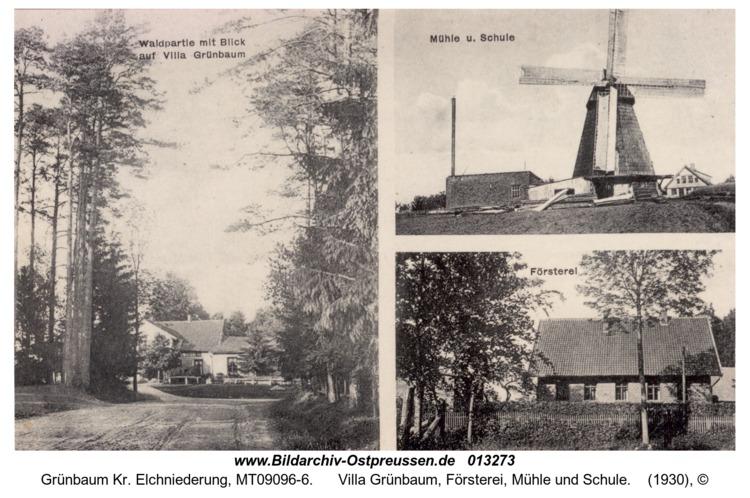 Grünbaum, Villa Grünbaum, Försterei, Mühle und Schule