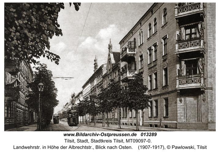 Tilsit, Landwehrstr. in Höhe der Albrechtstr., Blick nach Osten