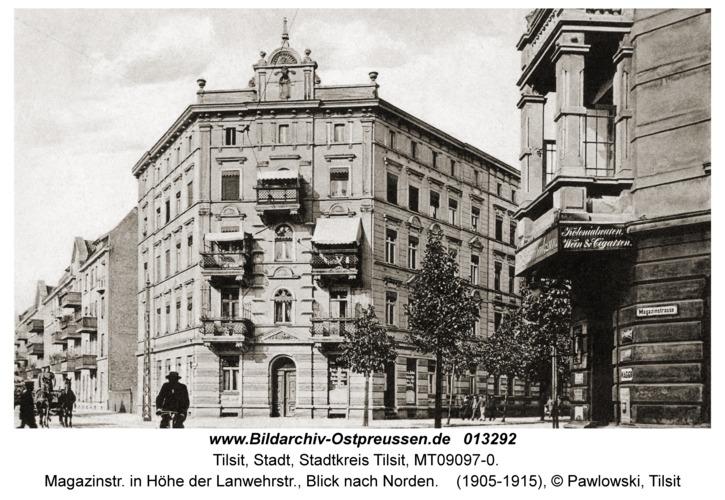 Tilsit, Magazinstr. in Höhe der Lanwehrstr., Blick nach Norden