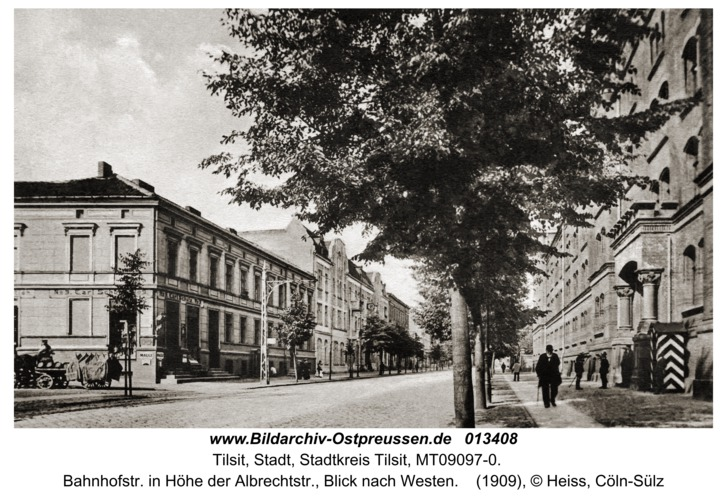Tilsit, Bahnhofstr. in Höhe der Albrechtstr., Blick nach Westen