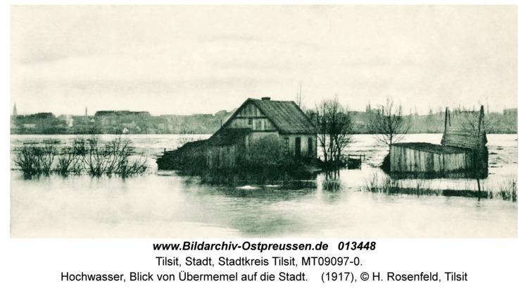 Tilsit, Hochwasser, Blick von Übermemel auf die Stadt