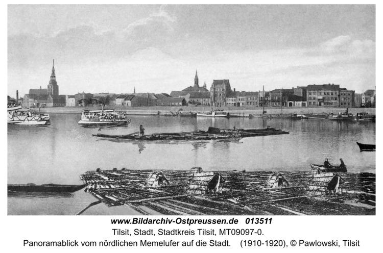 Tilsit, Panoramablick vom nördlichen Memelufer auf die Stadt