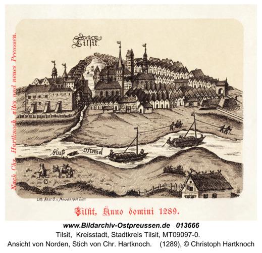 Tilsit, Ansicht von Norden, Stich von Chr. Hartknoch