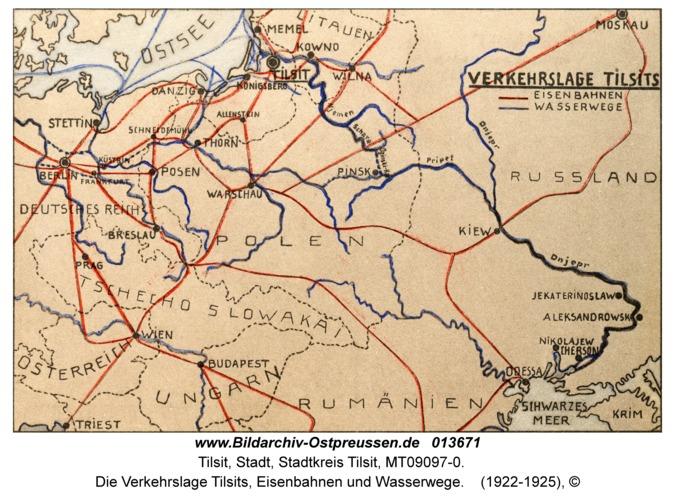 Tilsit, Die Verkehrslage Tilsits, Eisenbahnen und Wasserwege