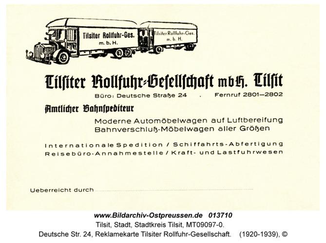 Tilsit, Deutsche Str. 24, Reklamekarte Tilsiter Rollfuhr-Gesellschaft